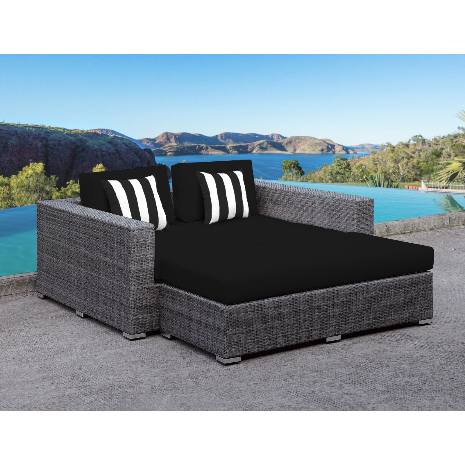 Solis Lusso Deep Seated Wicker 2 Piece Outdoor Daybed Set