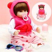 19'' Realistic Reborn Baby Dolls Newborn Silicone Vinyl Full Body Girl Dolls Handmade Lifelike Doll Toy with Clothes Hat, Baby bottles, Glasses, Children Birthday Gifts