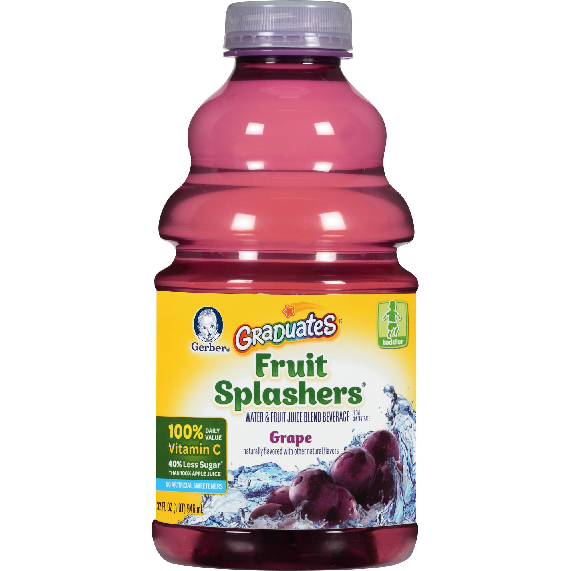 Gerber Graduates Fruit Splashers Grape Water & Fruit Juice Blend Beverage, 32 fl oz