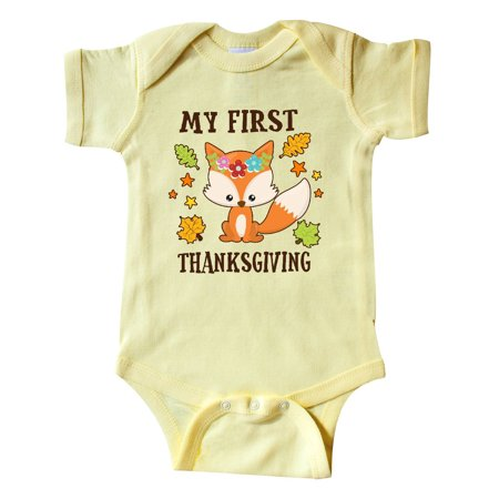 My First Thanksgiving with Fall Fox and Leaves Infant Creeper](Fall Infant Photo Ideas)