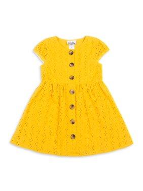 Little Lass Girls 4-6X Short Sleeve Eyelet Wooden Button Down Spring Dress With Pockets