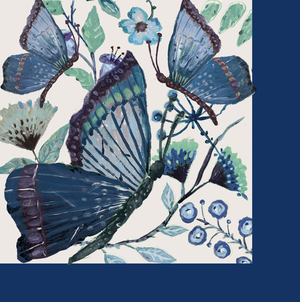 Butterflies Shades of Indigo Paper Luncheon Napkins