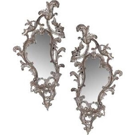 Wall Mirror FRENCH HERITAGE MAISON SAVILLE Scrolled Silver Leaf Brass Set FH-936