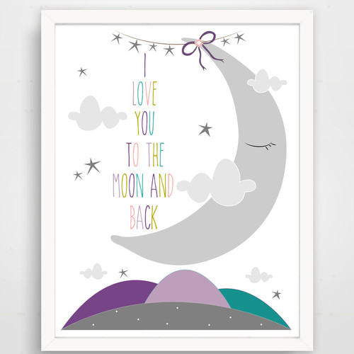 Finny and Zook I Love You to the Moon and Back Sleepy Moon Paper Print