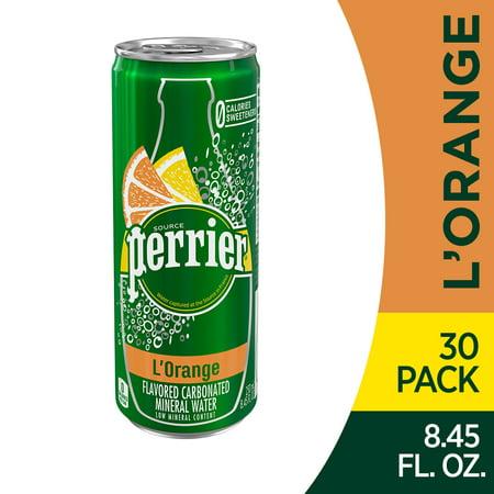 Perrier L'Orange Flavored Carbonated Mineral Water (Lemon Orange Flavor), 8.45 fl oz. Slim Cans (30 Count)