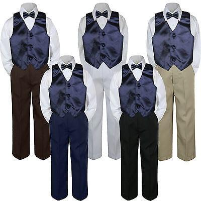 1dfc163d3014 4pc Boy Suit Set Navy Blue Bow Tie Vest Baby Toddler Kid Formal Pants S-