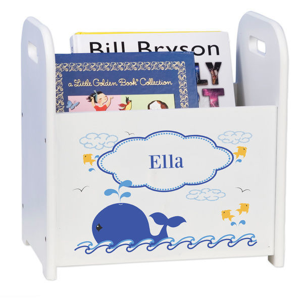Personalized Blue Whale White Book Caddy and Rack