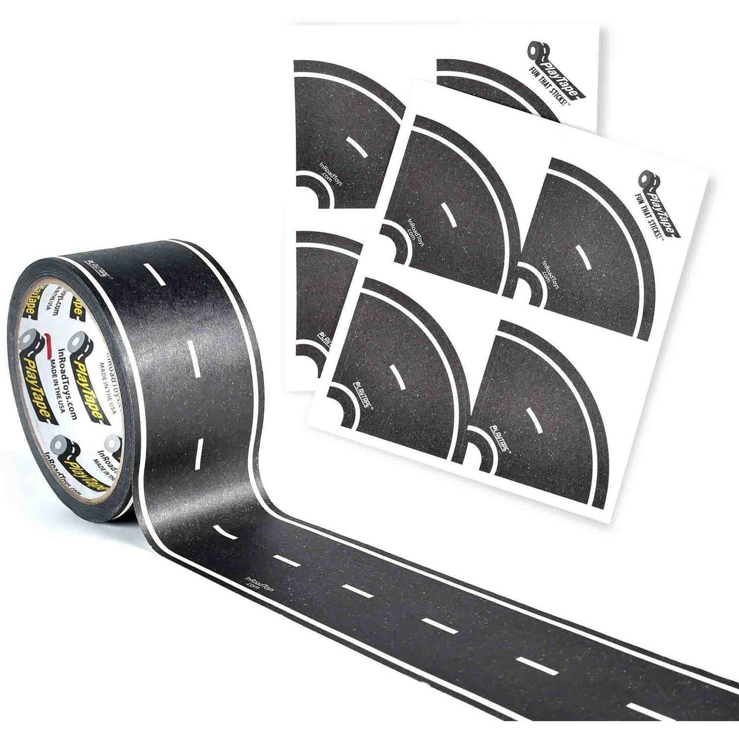 "PlayTape Classic Road Series 30' x 4"" Road with 4 Tight Curves, Black"