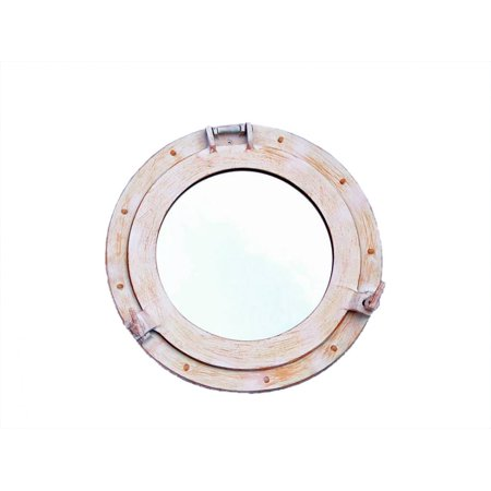 Ship Porthole (Rustic White Aluminum Deluxe Class Decorative Ship Porthole Mirror 15