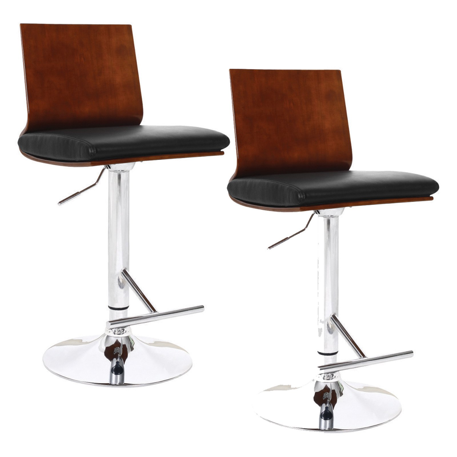 Leick Adjustable Height Swivel Counter Stool Flat Back with Black Faux Leather Set of 2 by Leick Furniture