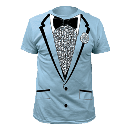 Dumb And Dumber Tuxedo (Light Blue Tuxedo T-Shirt Costume Harry Dunne Dumb And Dumber Prom Tux)