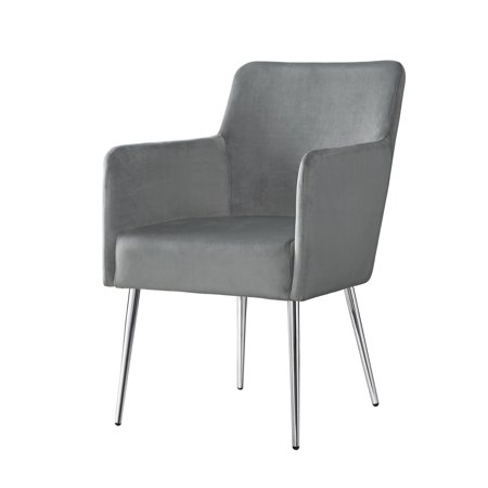 Inspired Home Camputo Leather/Velvet Dining Chair Stainless Steel Legs (Set of