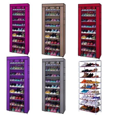 Zimtown 10 Tiers Shoe Rack with Dustproof Cover Closet Shoe Storage Cabinet Organizer
