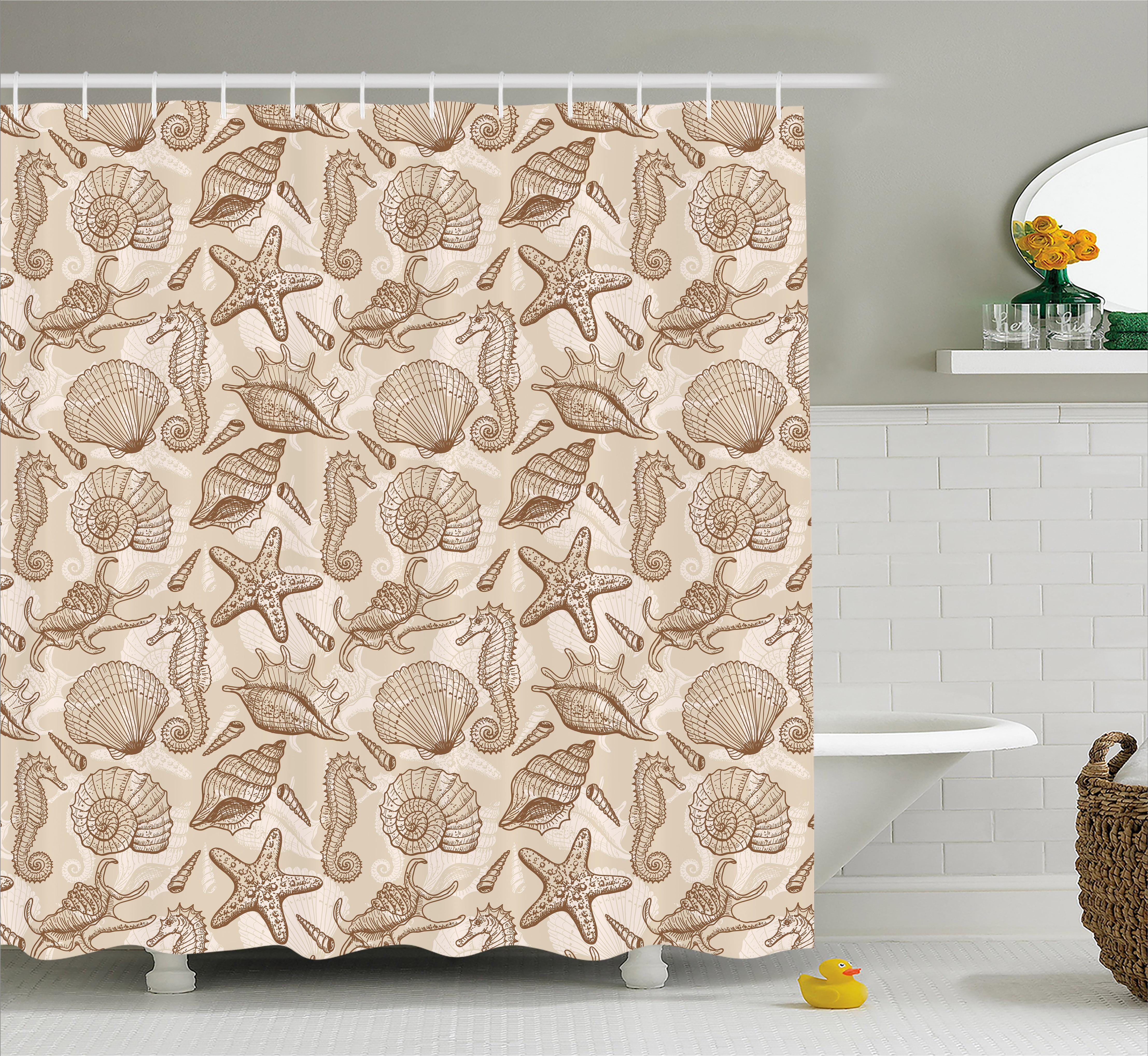 Sea Shells Shower Curtain, Vintage Inspired Monochrome ...