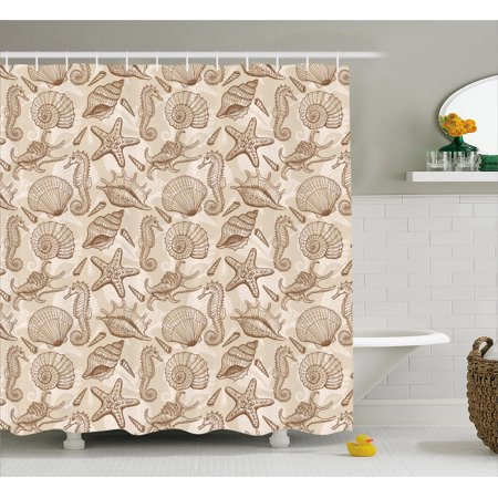 Sea Shells Shower Curtain, Vintage Inspired Monochrome Seashell Pattern Ocean Elements Wildlife Hand Drawn, Fabric Bathroom Set with Hooks, 69W X 70L Inches, Tan Brown, by Ambesonne (Seashell Shower Curtain)