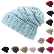Outdoor Warm Winter Women CC Beret Braided Baggy Knit Crochet Beanie Hat Ski Cap