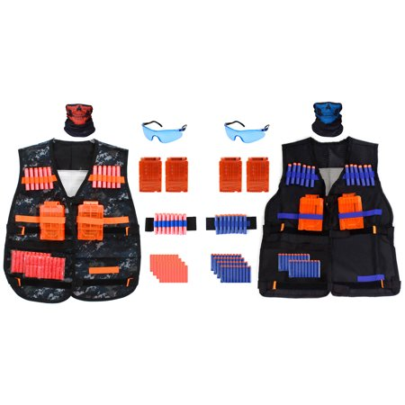 Kids 2-Pack Tactical Vest Kit for Nerf Guns with Quick Reload Clips, Soft Bullet Darts, Safety Eye Protection, Tube Masks, and Wrist Bands (92 Pieces) - Bullet Proof Vest Halloween