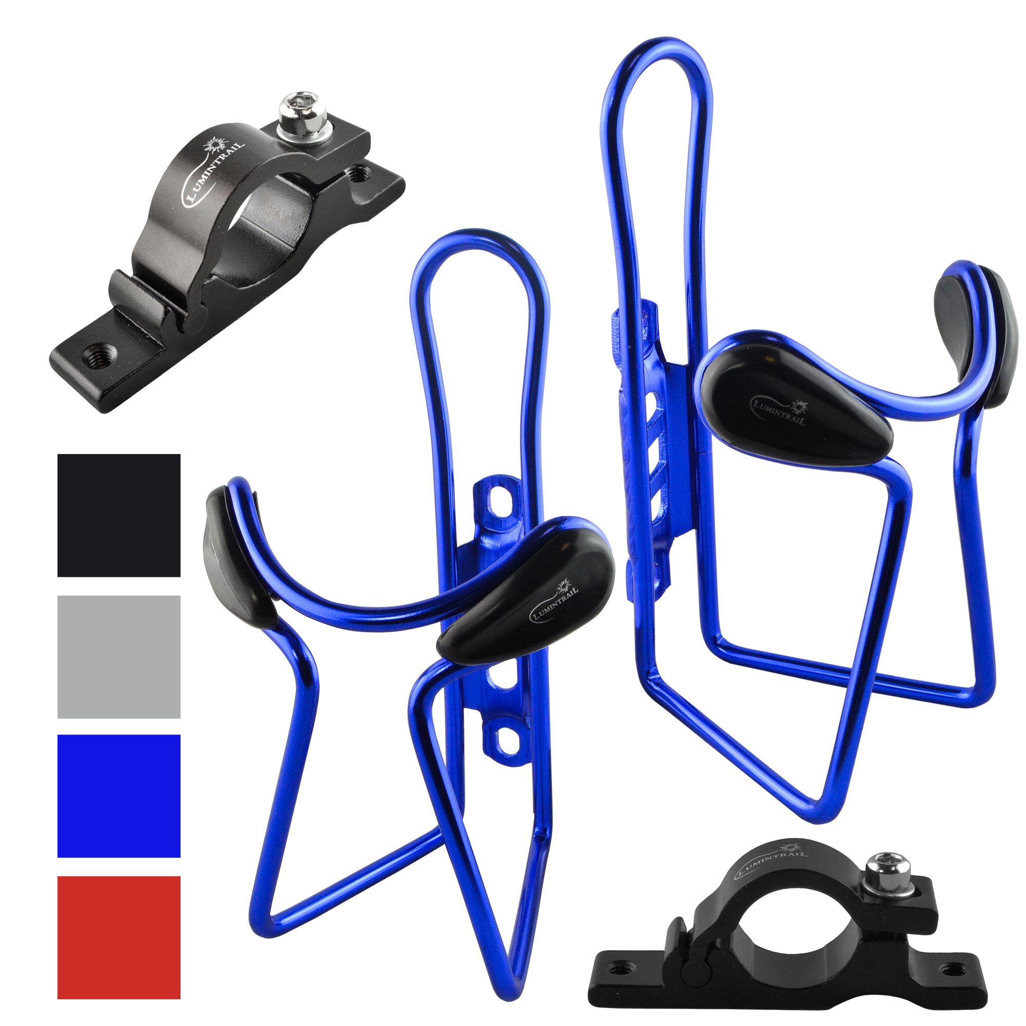 Lumintrail 2 Pack Bike Bottle Holders w/ Handlebar Mount Adapter lightweight aluminum alloy bicycle water cage
