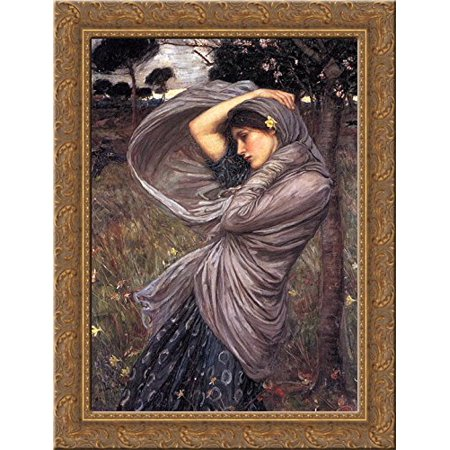 Boreas 24x18 Gold Ornate Wood Framed Canvas Art by John William Waterhouse