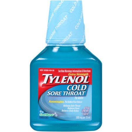 Tylenol Cold + Sore Throat Liquid – Daytime – Cool Burst , 8 Oz