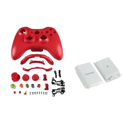 Insten Red Case Shell Buttons+White Battery Pack Shell For Xbox 360 Wireless Controller