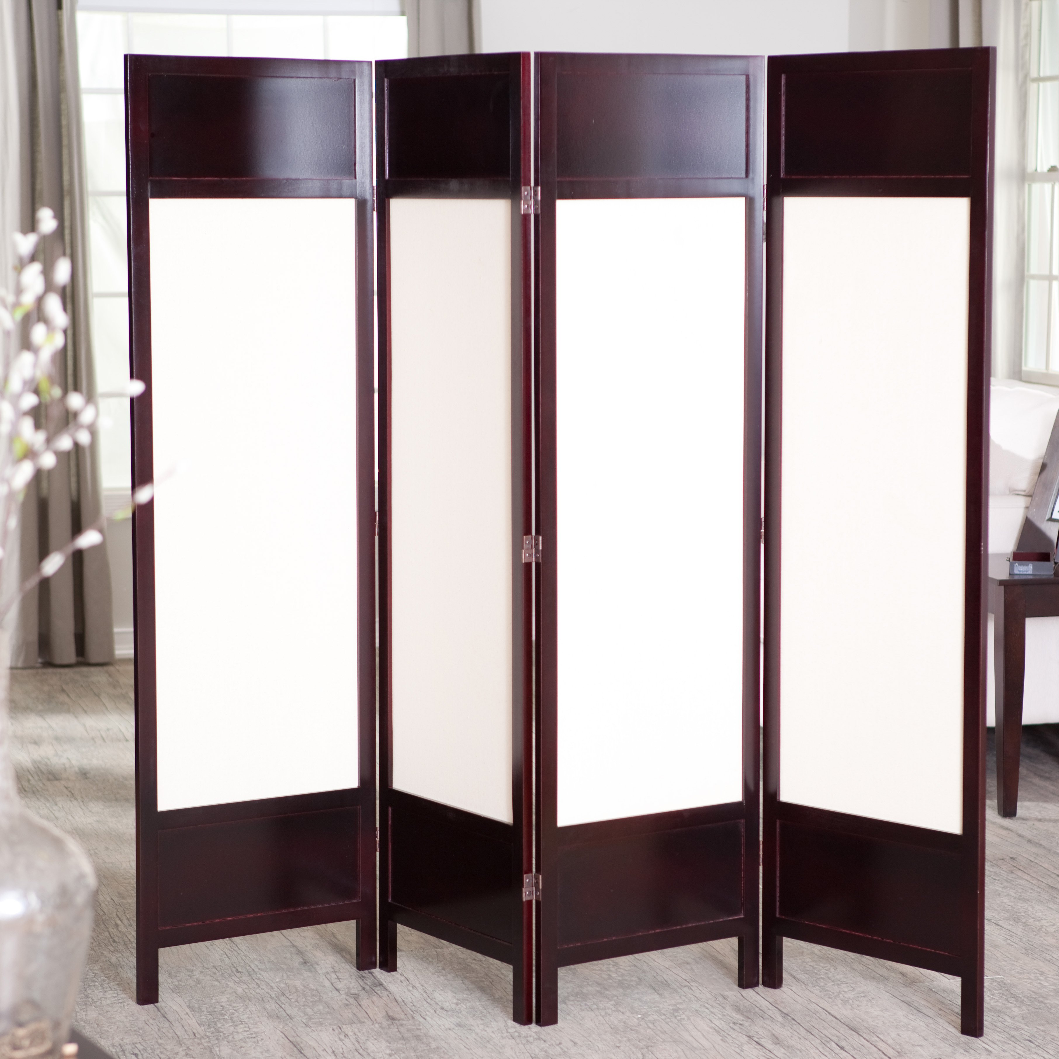 Room Dividers.com Part - 42: Griffin Canvas 4 Panel Room Divider - Rosewood - Walmart.com