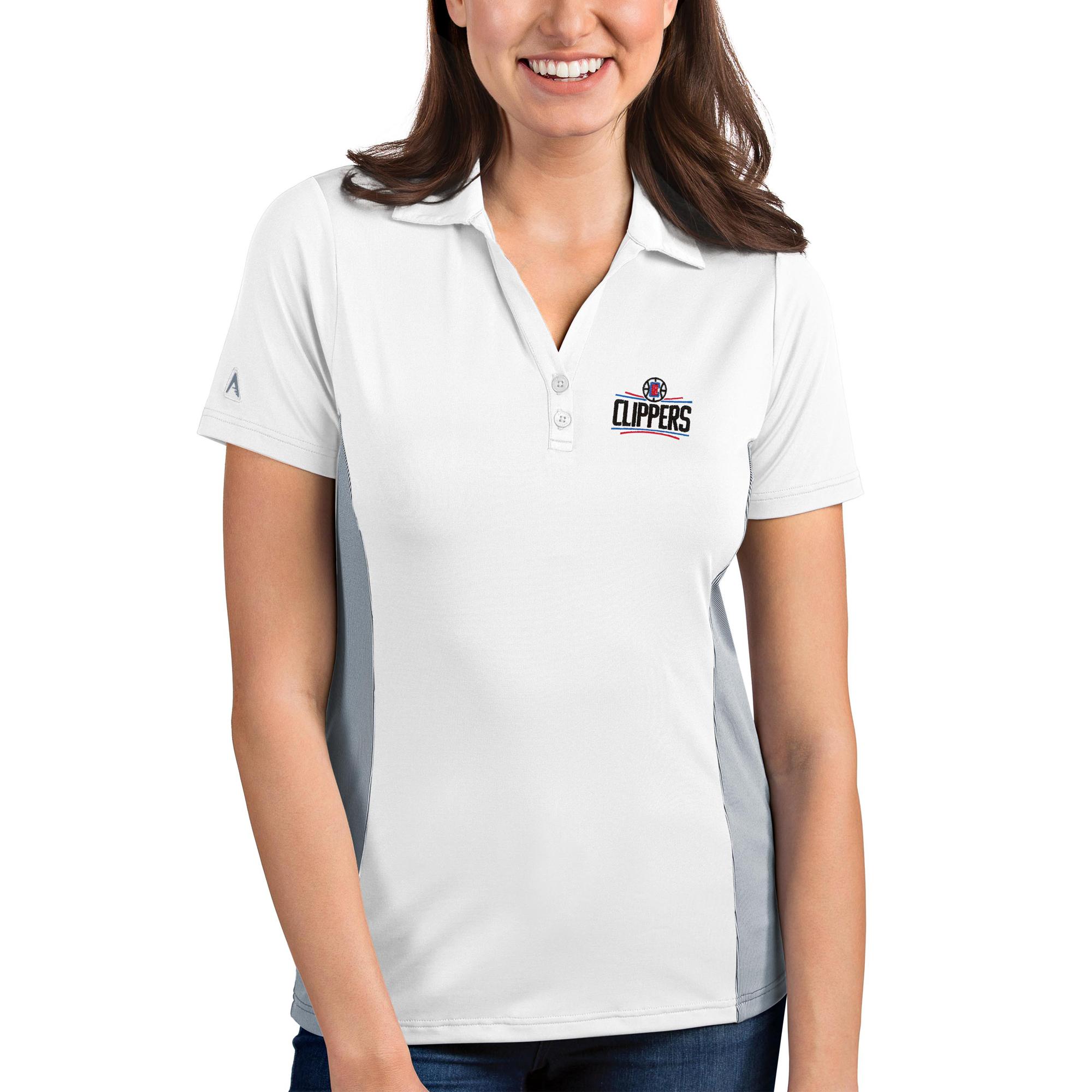 LA Clippers Antigua Women's Venture Polo - White/Gray