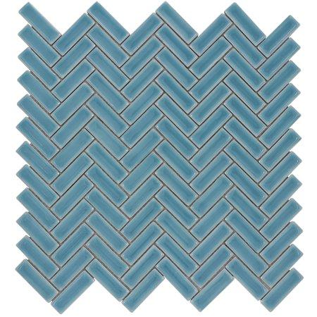 MTO0254 Modern Herringbone Blue Turquoise Glazed Handcrafted Ceramic Mosaic Tile (Ceramic Tiles Turquoise)