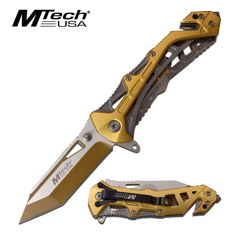 Mtech USA Assisted Opening Gold Carbon Steel Tanto Rescue Knife