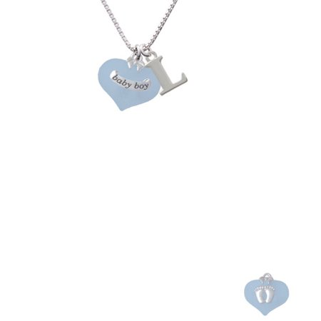 Baby Boy Blue Heart With Baby Feet Capital Initial L Necklace