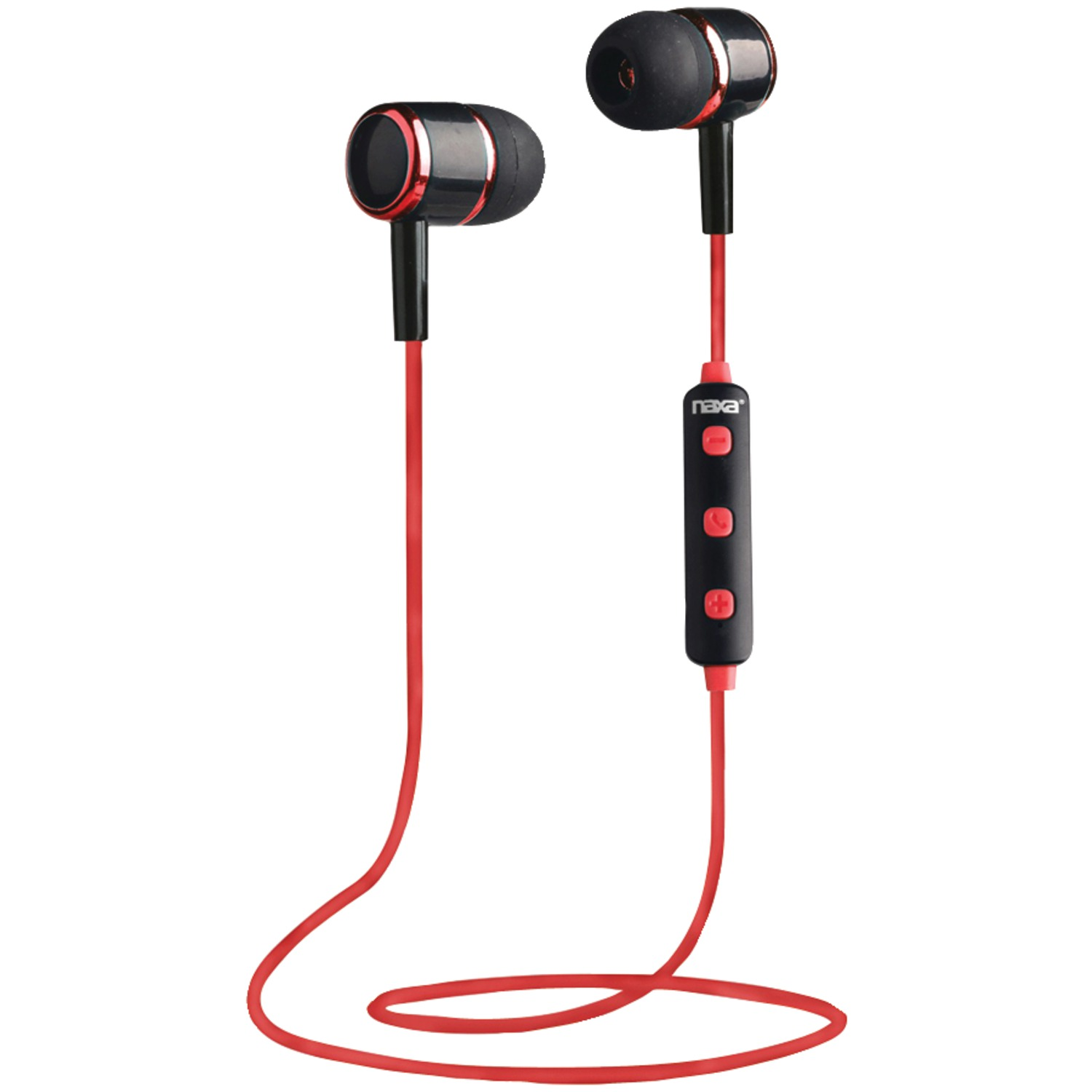 Naxa NE-950 BLACK/RED Bluetooth Isolation Earbuds with Microphone & Remote (Red)
