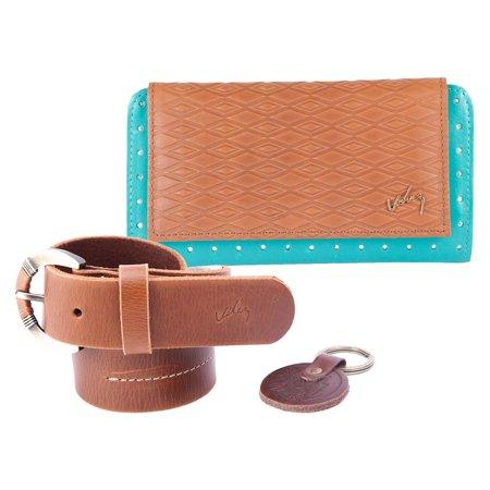 Velez Women Genuine Full Grain Leather Soft Bifold Small Slim Compact Wallet Money Organizer Pocket Casual Dressy Fashion Cute Belt Thin Wide Set (Dressy Sling)