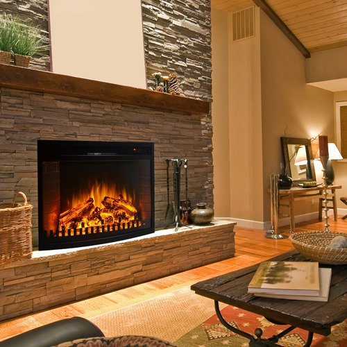 Winston Porter Perkins Curved Electric Fireplace Insert