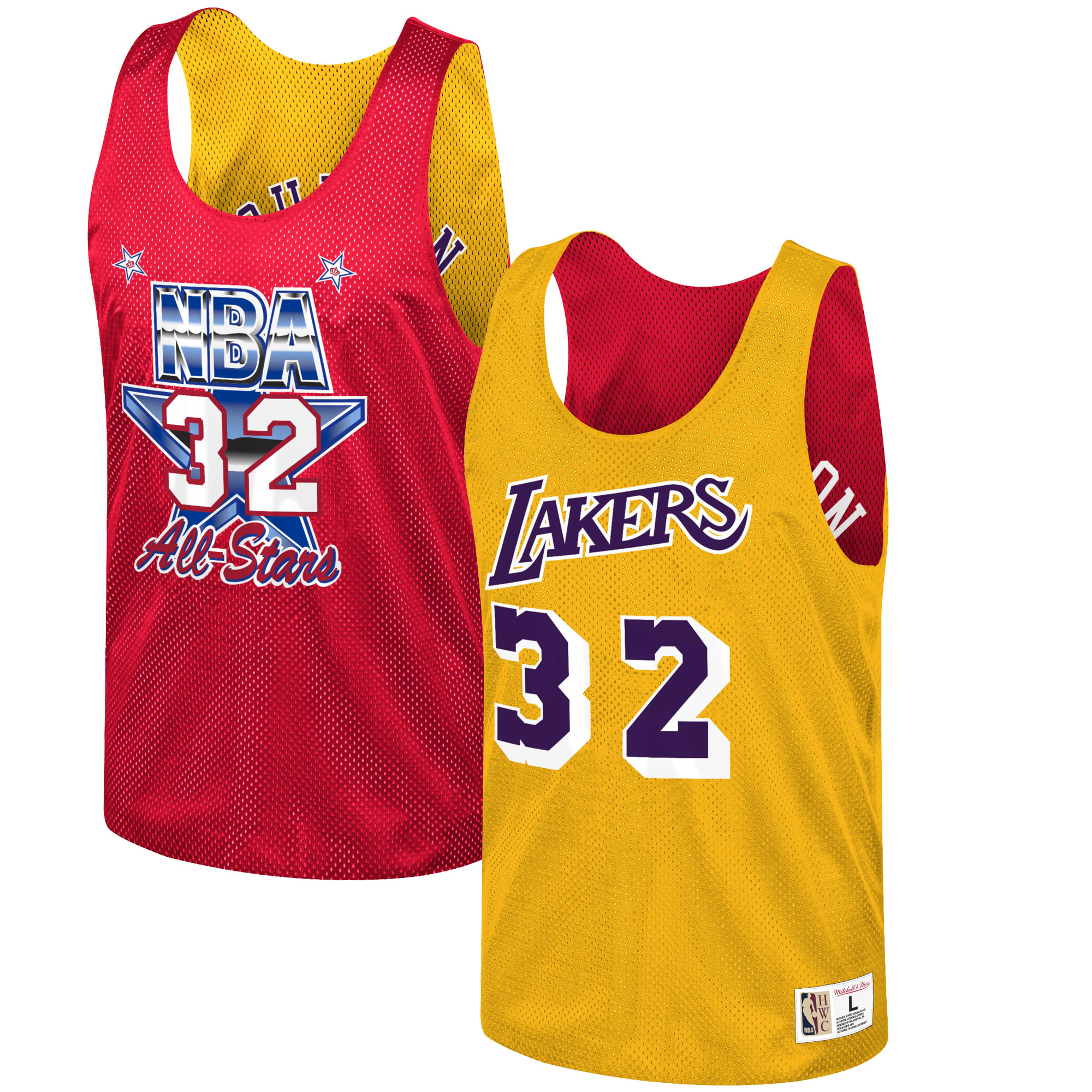 Magic Johnson Los Angeles Lakers Mitchell & Ness All-Star Game Reversible Mesh Tank Top - Gold/Red