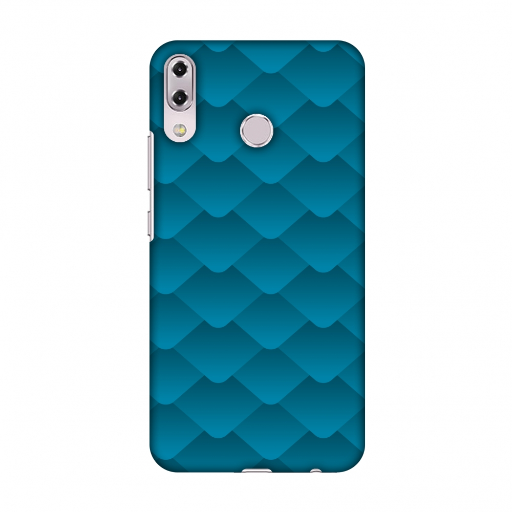 Asus Zenfone 5Z ZS620KL Case - Carbon Fibre Redux Aqua Blue 11, Hard Plastic Back Cover, Slim Profile Cute Printed Designer Snap on Case with Screen Cleaning Kit