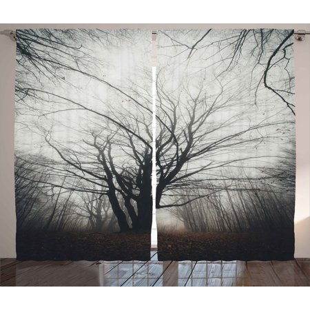 Nature Curtains 2 Panels Set, Vertical Photo of Autumn Tree in Dark Haunted Foggy Mist Mysterious Forest Picture Print, Window Drapes for Living Room Bedroom, 108W X 63L Inches, Grey, by Ambesonne