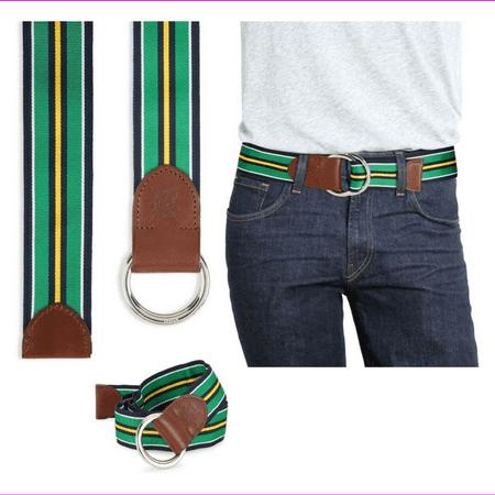 $75 POLO RALPH LAUREN Mens Grosgrain Leather Belt Green Yellow Navy L