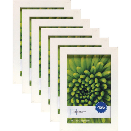 "Mainstays Linear 4"" x 6"" White Frame, Set of 6"
