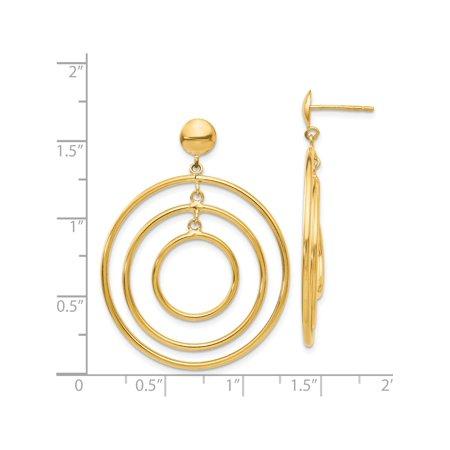 Boucles d'oreilles en or jaune 14k Fancy Cercle Dangle (post) de 33x45mm - image 1 de 3