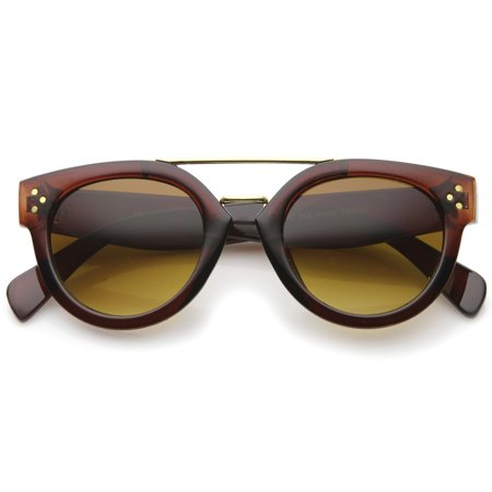 968c59635c sunglassLA - Modern Double Bridge Brow Bar Wide Temple Round Horn Rimmed  Sunglasses - 60mm - Walmart.com