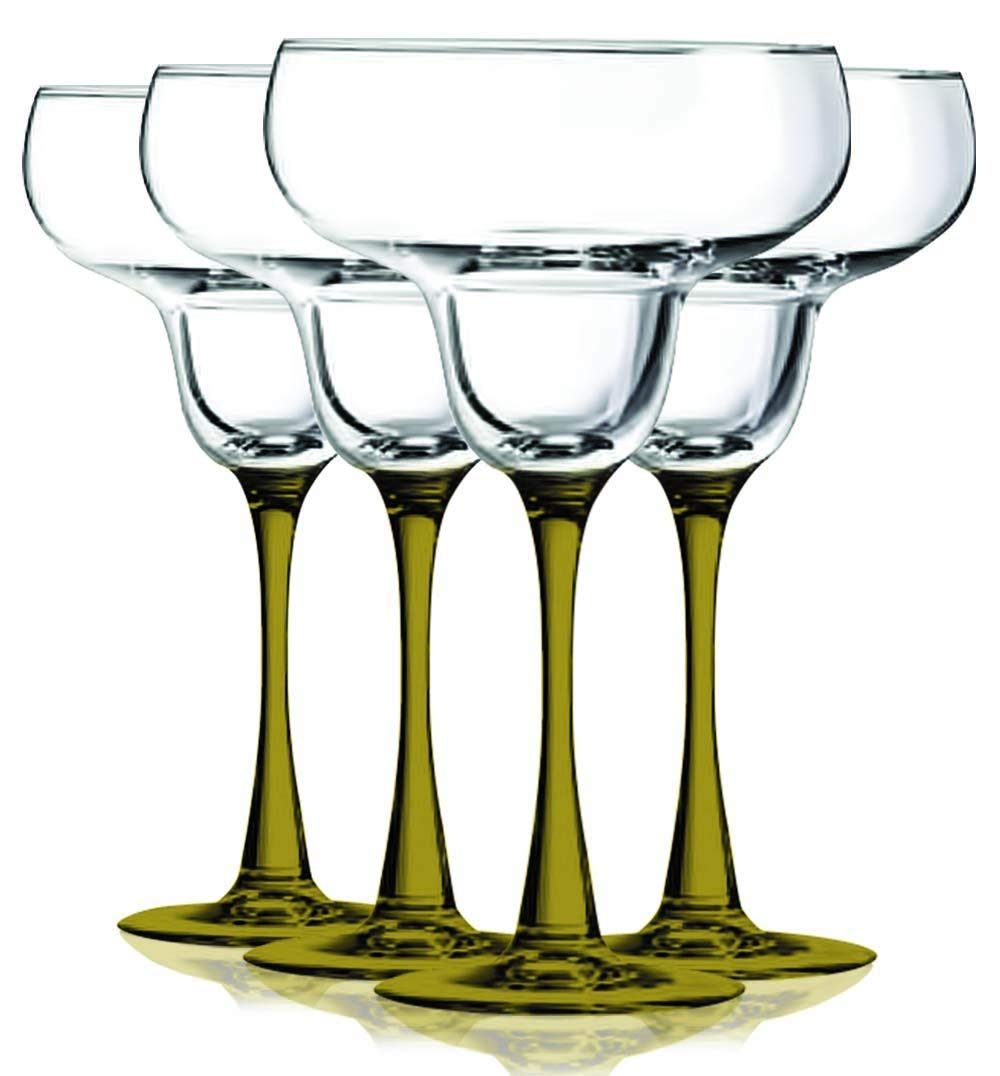 Emerald Green Margarita Glasses with Beautiful Colored Stem Accent - 14.5 oz. set of 4- Additional Vibrant Colors Available by TableTop King