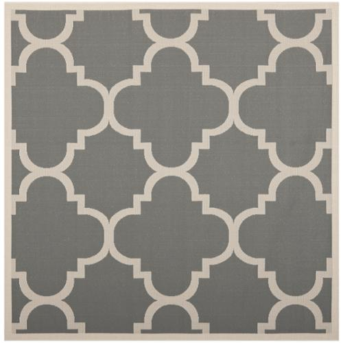 Safavieh Indoor/ Outdoor Courtyard Gray/ Beige Area Rug (4' Square)