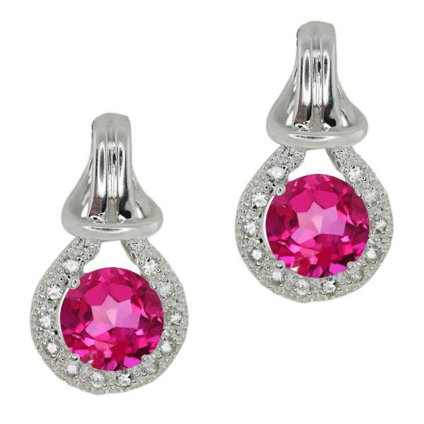 2.20 Ct Round Pink Mystic Topaz White Sapphire Sterling Silver  Earrings