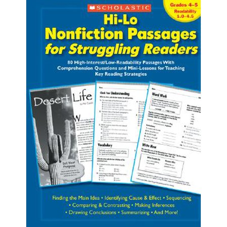 Hi-Lo Nonfiction Passages for Struggling Readers: Grades 4-5 : 80 High-Interest/Low-Readability Passages with Comprehension Questions and Mini-Lessons for Teaching Key Reading Strategies
