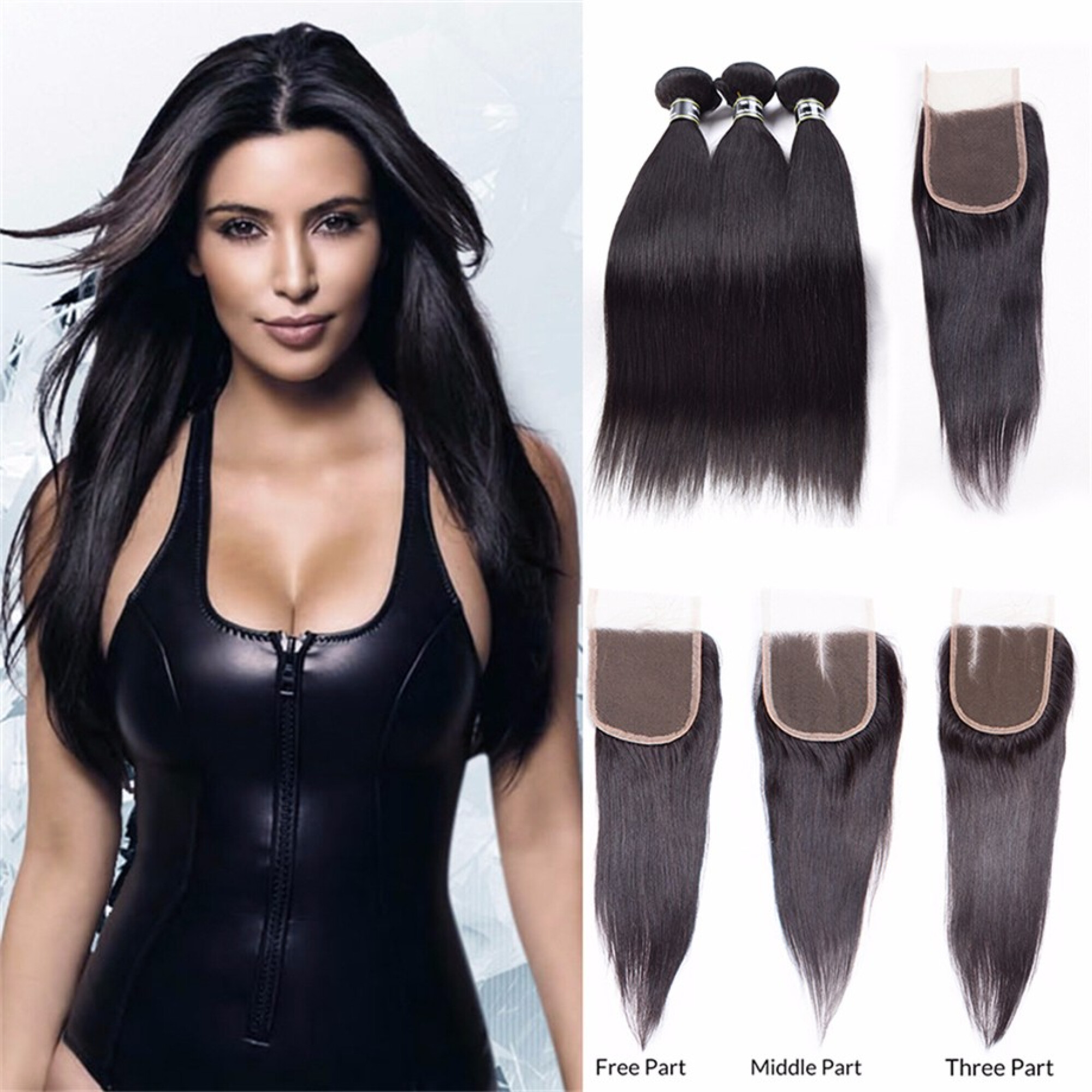 """Amazing Star Virgin Malaysian Straight Hair Bundles with Closure Free Part Straight Human Hair Weave, 14""""16""""18"""" with 14"""""""