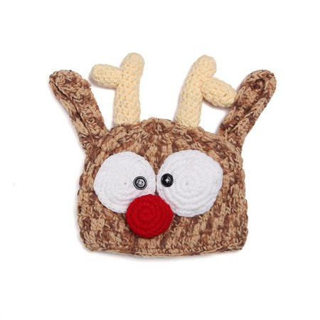 (Baby Handmade Knitted Crochet Knit Reindeer Hat Antlers Photo Photography Prop By Xselector)