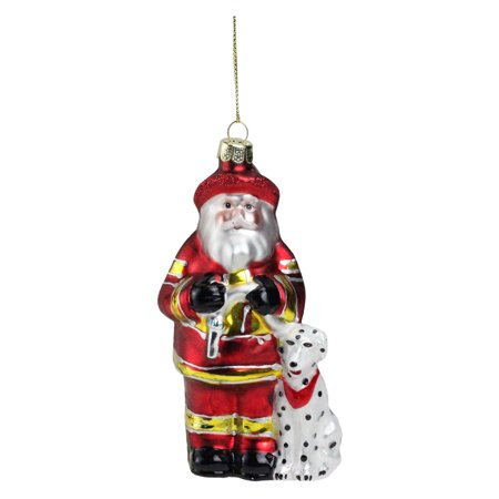 Northlight Fireman Santa Claus with Dalmatian Dog Christmas Ornament for $<!---->