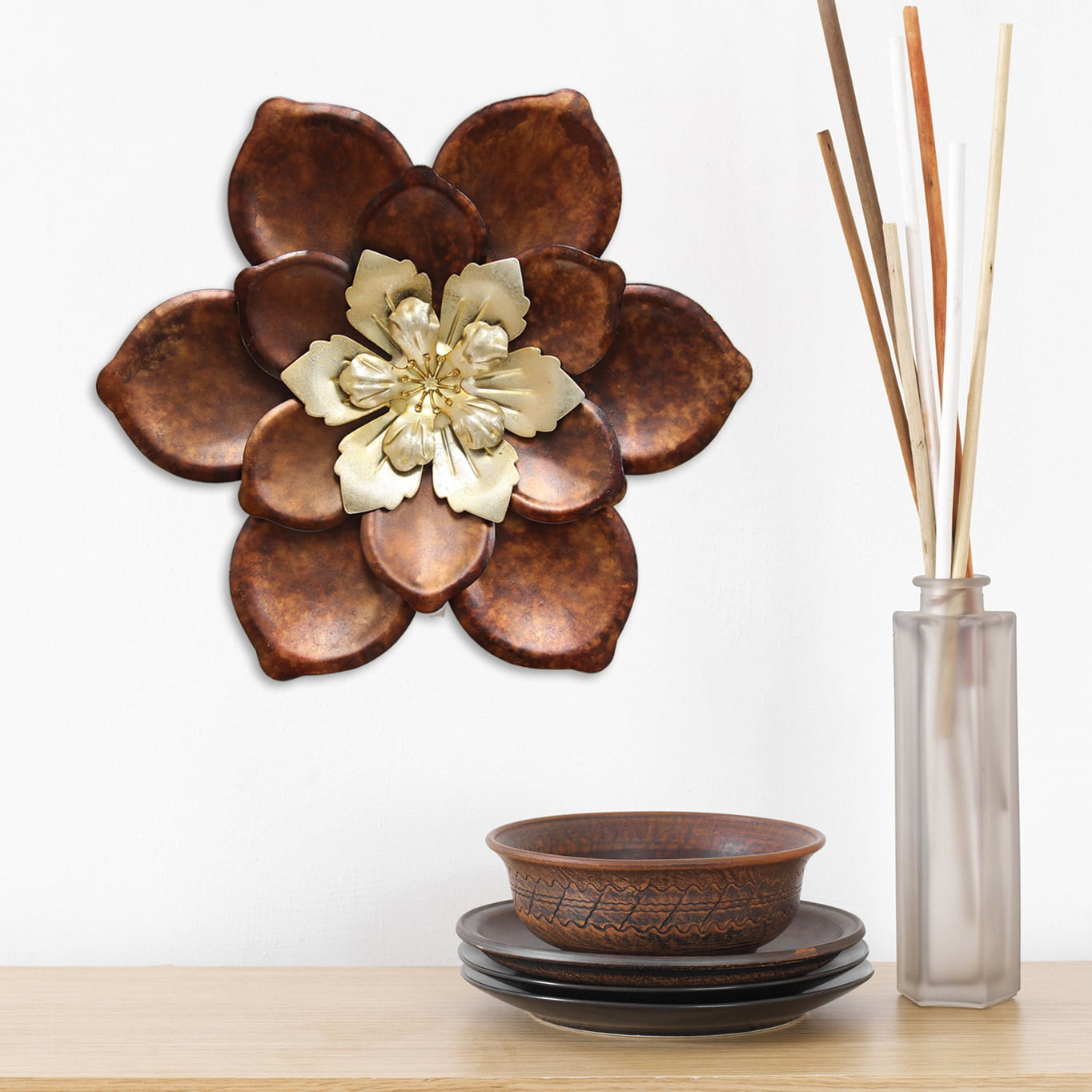 Stratton Home Decor Whimsical Bronze Flower Metal Wall Decor Walmart Com Walmart Com