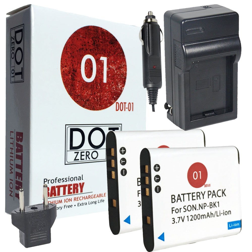 2x DOT-01 Brand 1200 mAh Replacement Sony NP-BK1 Batteries and Charger for Sony Webbie MHS-CM1 Digital Camera and Sony BK1