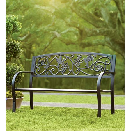 - Cast Aluminum Outdoor Garden Bench with Hummingbird Design, Black